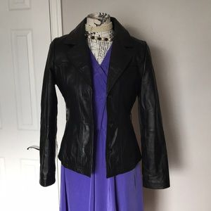 Moto RockStar Leather Blazer Buttons Up Collared S